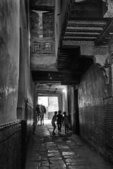 Jeux d'ombres (zumaqueromf) Tags: maroc fès morroco children enfants noiretblanc blackandwhite cheval horse rue street maison architecture contrejour