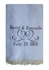 Herringbone Throw Blanket - Double Heart (initial_impressions) Tags: embroidered personalized herringbonethrowblanketwithdoubleheart anniversaryblanket