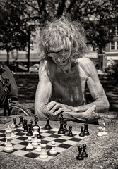 'B-Q3' (Canadapt) Tags: man chess game park outdoors barechested longhair elder toronto bw canadapt