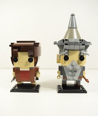 Frodo and Gandalf - The Lord of the Rings - Front (jhkulits) Tags: brickheadz lego competition hobbit wizard grey frodo baggins gandalf fantasy action movie trilogy thelordoftherings thehobbit middleearth ring sword sting staff shire