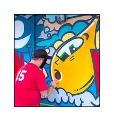 Street Art (Vinnie Nylon), East London, England. (Joseph O'Malley64) Tags: nylon vinnienylon pez pezbarcelona collaboration streetartists streetart urbanart publicart freeart graffiti eastlondon eastend london england uk britain british greatbritain art artists artistry artwork mural muralist wallmural hordings fencing buildingsite constructionsite sodapop lamp urban aerosol cans spray paint freehand fujix x100t accuracyprecision