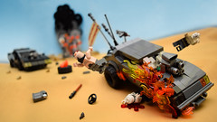 Razor Cola Rollover! (Andrew Cookston) Tags: lego madmax sand dust wasteland max rockatansky v8 police interceptor razorcola gastown races georgemiller moc car post apocalypse photoshop custom minifig stilllife toy lighting nikon macro photography andrewcookston warboys