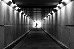 Tunnel of light (Birdhouse camper) Tags: denmark tunnel light lines central silhouette street blackandwhite blackwhite fujifilm fuji fujixt2