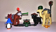 Fantasy Party Minifig Contest! Team 3 (LegoKlyph) Tags: lego silly contest animals magic warriors dnd funny goof parody horse alligator panther camel penguin minifigure bricks tools weapons