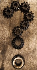 ? (ramon_malakian) Tags: interrogación interrogation question pregunta duda doubt engranaje gear metal iron mecanismo mechanism marrón brown óxido oxide