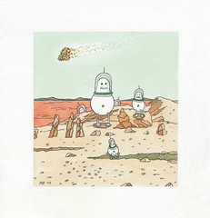 Shmoos Visit the Red Planet | Watercolor Drawing (steveartist) Tags: rocks sand redocean mountains spacecharacters glasshelmets stevefrenkel watercolors derwentwatercolorpencils candymeteor cartooncharacters art visualart humor whimsy