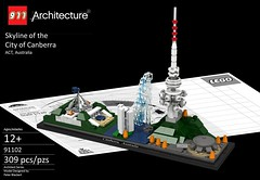 Architecture - Canberra, Australia Skyline (lego911) Tags: lego landmark architecture rebrick competition ldd render cad povray lego911 buildings foitsop canberra australia act telstra tower shine dome captain cook memorial jet carillon new parliament house black mountain academy science aspen island water fountain walter burley griffin lake