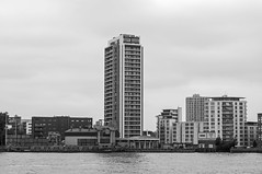 High Rise (D_Alexander) Tags: uk england london eastlondon docklands riverthames thamespath skyscrapers blackandwhitephotography