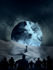 269/365 (lukerenoe) Tags: conceptual composite lukerenoe moon night blue self surreal selfportrait surrealism sky 365 edit creepy photoshop mystery mood dune mountain sunset art