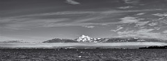 2017-02-07 Mt. Baker & Twin Sisters Mountain B&W Panorama (02) (3072x1124) (-jon) Tags: anacortes fidalgoisland sanjuanislands skagitcounty skagit washingtonstate washington salishsea marchpoint padiilabay mtbaker mountbaker volcano pnw pacificnorthwest northcascades cascademountains blackandwhite bw monochrome d90archives landscape seascape winter a266122photographyproduction sky cloud cirrus waterscape twinsistersrange northtwin southtwin mountain snow pano panorama panoramic