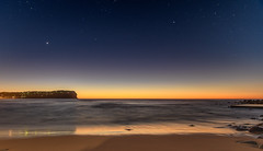 Starry Daybreak Seascape (Merrillie) Tags: daybreak shoreline sand sunrise macmastersbeach nature australia longexposure stars nightsky nighttime bouddipeninsula newsouthwales sea earlymorning nsw night beach clouds centralcoast sky water photography coastal outdoors waterscape dawn coast seascape landscape