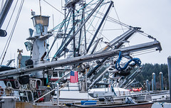2017 - Alaska - Kodiak - What Angles? (Ted's photos - For Me & You) Tags: 2017 alaska alaskacruise cropped nikon nikond750 nikonfx tedmcgrath tedsphotos vignetting flag usaflag bbq boats ships masts cables ropes kodiakalaska busy port kodiakport pulleys fishingboats