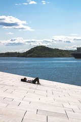 (Rasmus Ink) Tags: norway oslo streetphotography sea sky clouds ship person human city