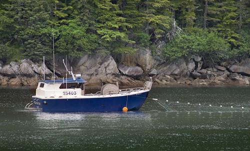 prince william sound glacier cruise alaska controller bay fishing vessel boat net nets salmon salmonfishing trawler ship green blue rocks netfishing fish cordova