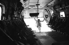 waiting to go, RAF Merlin HC3, Basra, Iraq (Plan R) Tags: ilford film hp5plus monochrome blackandwhite helicopter merlin hc3 royal air force raf basra iraq operation telic leica m3 military