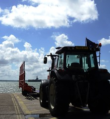 GAFIRS Gosport And Fareham Inshore Rescue Tractor And Trailer With USS George H W Bush On The Solent Hampshire UK (CreatureStream) Tags: gafirs gosport and fareham inshore rescue tractor trailer with uss george h w bush on the solent hampshire uk