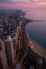 Sunrise Chicago (2) (romanboed) Tags: leica m 240 summicron 28 usa illinois chicago gold coast lake michigan night blue light city cityscape nightscape urban lights twinkling shore drive open window john hancock center aerial sunrise pink sky early morning