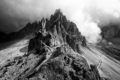 Dolomiti (Croosterpix) Tags: mountain peak peaks clouds nature landscape dolomiti dolomites rocks blackwhite blackandwhite sony a7r nikkor1835