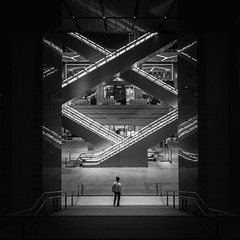 xy (marco ferrarin) Tags: kyobashi edogrand tokyo escalator monochrome blackandwhite architecture city urban squareformat composition symmetry reflection 京橋エドグラン japan night light geometry geometric intersection xy
