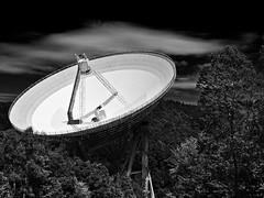 Hello aliens, where are you? (diarnst) Tags: radiotelescope radioteleskop astronomie astronomy technik technic eifel germany sw blackandwhite panasonic gx8
