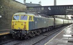 """47703 """"Saint Mungo"""" propels her Glasgow-bound train through Haymarket in August 1982 (colin9007) Tags: brush type 4 class 47 sulzer 477 47703 saint mungo haymarket edinburgh"""