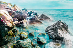 Rocks on the edge (mushfiqueahmed) Tags: rocks rock north bay lake water stream river day canada ontario
