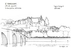 Terrasson (gerard michel) Tags: france dordogne terrasson pont sketch croquis