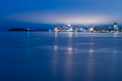 harbour haze (angie pineappletree) Tags: halifax harbour novascotia night bluehour atlantic ocean maritimes eastcoast portofhalifax georgesisland canada summer
