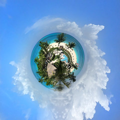Tiny Planet of Grace Bay Beach in Providenciales, Turks and Caicos Islands