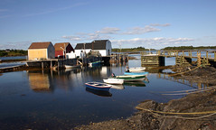0082 Blue Rocks,Nova Scotia (suebmtl) Tags: novascotia atlanticocean sea sun rocks summer clouds scenic southshore canada fishing village bluerocks dory fishingshacks picturesque quaint