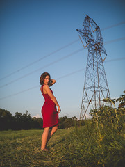 Electrifying (Vincent F Tsai) Tags: portrait art fashion girl model young pose outdoor field power line tower dress red pretty beautiful sexy beauty wide bokeh dof sigma24mmf14dgart metabones speedbooster panasonic lumixg7
