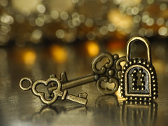 one fits to unlock the treasure - Macro Mondays - Three (Luana 0201) Tags: macromondays three key lock light bokeh small reflection
