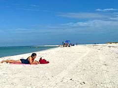 A Beautiful Day on Siesta Key Beach (soniaadammurray - Off) Tags: iphone beach sea people sky sand men women children bicycles sunshades birds clouds play relax vacation holiday life summer seasons mondayblues blue