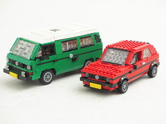 Eighties Volkswagens (Mad physicist) Tags: lego golf transporter westfalia t3 car volkswagen