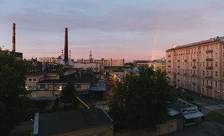Rainbow over the factory