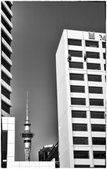 A Human Touch (Rolf Siggaard) Tags: 35mm architecture auckland blackwhite building concrete daytime environmental fujixt2 fujifilm industrial manmade men mirrorless monochrome morning newzealand object outdoors people shapes structures ~what ~structuresarchitecture architecturalelement hotel
