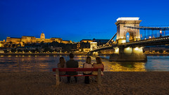 Bridge Lookout (JH Images.co.uk) Tags: budapest people bridge chain hdr dri bench buda castle night bluehour sky architecture