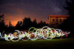 * Gymnastique nocturne * (-ABLOK-) Tags: light lightpainting painting lumière magic long exposure nuit night star étoile sky lampe space writing couleur colors france auvergne ablok