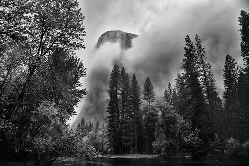 Gathering Clouds Spring Storm, El Capitan (Black & White, Yosemite National Park)