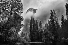 Gathering Clouds Spring Storm, El Capitan (Black & White, Yosemite National Park) (thor_mark ) Tags: 3000feethighgranitemonolith 900meterhighgranitemonolith alongbanksofmercedriver blackwhite canvas capturenx2edited cathedralbeachpicnicarea centralyosemitesierra clouds cloudsacrossyosemitevalley cloudsaroundmountains cloudsinvalley cloudsinyosemitevalley colorefexpro day7 elcapitan elcapitanhiddeninclouds evergreens hiddeninclouds hillsideoftrees landscape lookingnw lowclouds mercedriver mountains mountainsindistance mountainsoffindistance mountainside nature nikond800e outside pacificranges portfolio project365 river salathéwall sierranevada silverefexpro2 stormclouds totokonoolah trees triptopasoroblesandyosemite yosemitenationalpark yosemitevalley yosemiterittersierranevada california unitedstates