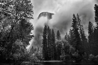 Gathering Clouds Spring Storm, El Capitan (Black & White, Yosemite National Park)
