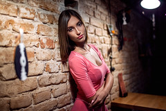 Night emotions (dontgiveacake) Tags: girl portrait night lamps brick wall beauty