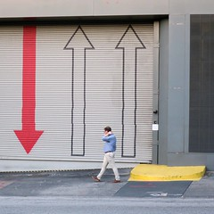 more upbeat than down (jim_ATL) Tags: up down red arrow blue shirt yellow caution step garage door street atlanta