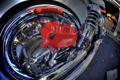tonemapped caliper (Atodog) Tags: motorcycle brakes rotor caliper red powdercoat honda shockabsorber chrome