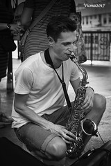 saxophone guy, (vicma168) Tags: 50mm zeiss ultron monochrome