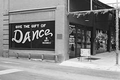 Dance studio (Jim Davies) Tags: veebotique olympus om10 ilford xp2 chromogenic c41 35mm film filmfilmforever slr blackandwhite bw monochrome usa america northamerica columbus ohio street suburban