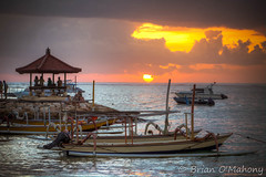 Floating On A Raft Of Gold (Brian O'Mahony) Tags: glow orange thephotographiceye water canon5dmarkii canon canon70200mmf28lis sanur beach semawang brianomahony horizon indonesia sunrise boats ocean sea bali beautiful