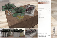 Sway's [Damien] Book with Glasses & Succulent | Uber (Sway Dench / Sway's) Tags: uber sways bed bedroom sleep cozy wood succulent lamp art sl virtual