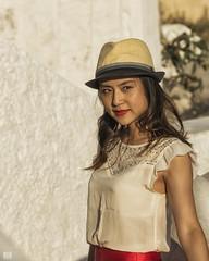 Pretty tourist (BAN - photography) Tags: prettygirl reddress redlipstick smile hat sequinnedblouse d810 crop santorini