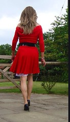 Red dress (deborah summers2010) Tags: red dress slip stockings satin